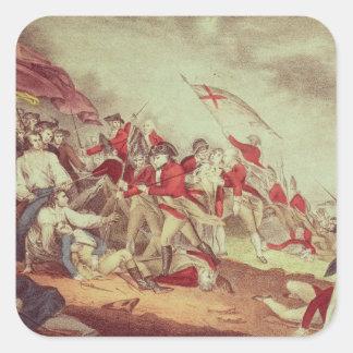 Batalla en la colina de arcón pegatina cuadrada