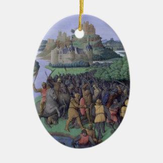 Batalla entre el Maccabees y el Bacchides Adorno Ovalado De Cerámica