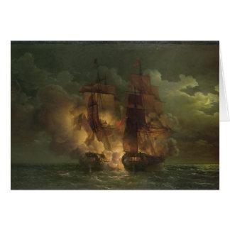 Batalla entre la fragata francesa 'Arethuse Tarjeta De Felicitación