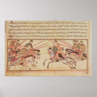 Batalla entre las tribus mongoles, siglo XIII Póster