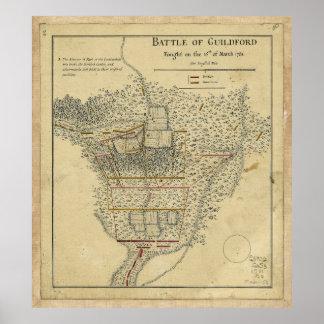 Batalla Guildford mapa del 15 de marzo de 1781 Póster