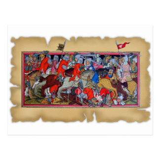 Batalla medieval tarjeta postal
