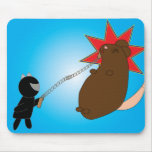 Batalla Mousepad del gatito de Ninja Tapete De Ratones