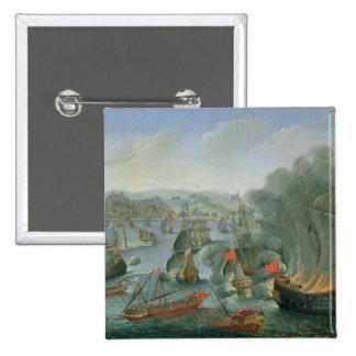 Batalla naval con la flota española pin cuadrada 5 cm