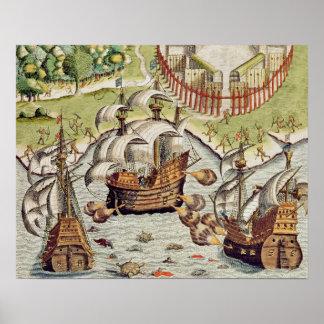 Batalla naval entre el el portugués y francés impresiones