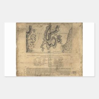 Batalla Nueva York mapa del 11 de octubre de 1776 Pegatina Rectangular