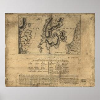 Batalla Nueva York mapa del 11 de octubre de 1776 Póster