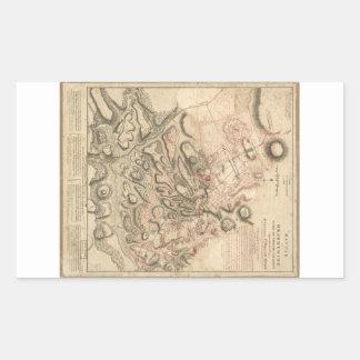 Batalla revolucionaria de la guerra del mapa de pegatina rectangular