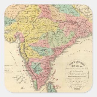Batallas de la India y mapa de Seiges Chonology Calcomanía Cuadrada