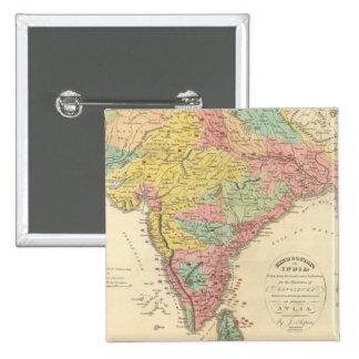 Batallas de la India y mapa de Seiges Chonology Pin Cuadrado