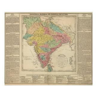 Batallas de la India y mapa de Seiges Chonology Póster