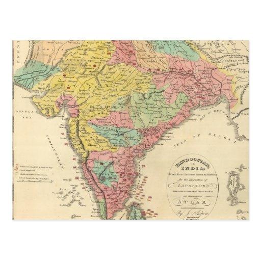Batallas de la India y mapa de Seiges Chonology Tarjetas Postales