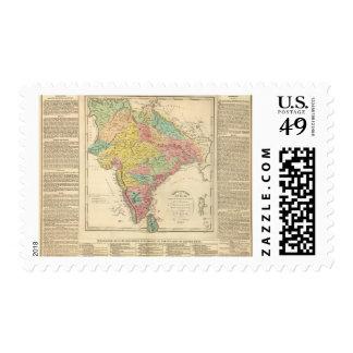 Batallas de la India y mapa de Seiges Chonology Timbres Postales