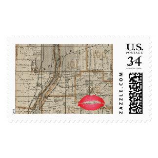 Batavia Illinois Plat Map 1870 Fox River Valley Postage