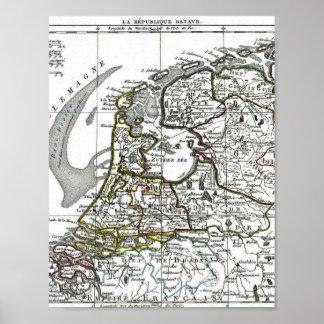 Batavian Republic (Holland and Belgium) Map Poster