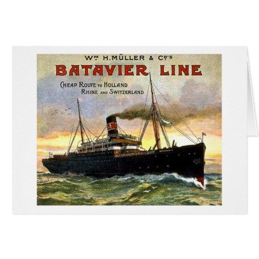 Batavier Line - Vintage Travel Greeting Card
