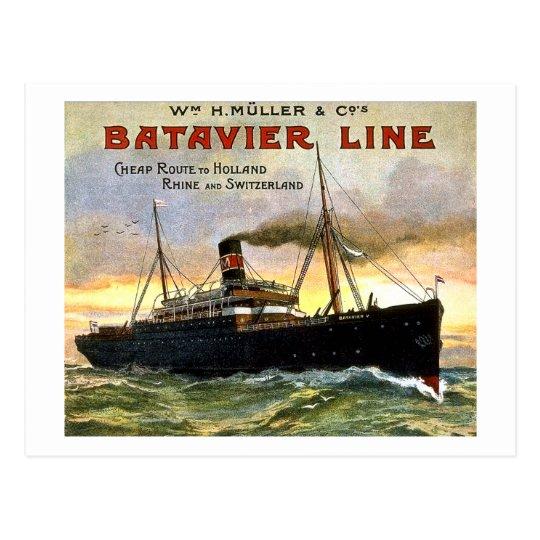 Batavier Line - Vintage Travel Postcard