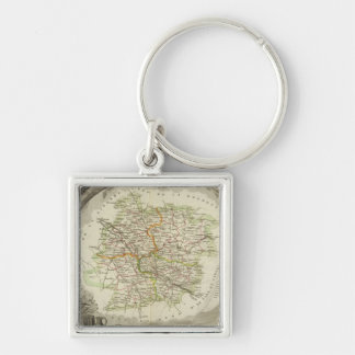 Batch and Garonne Silver-Colored Square Keychain
