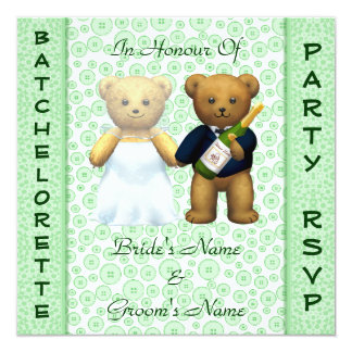 Batchelorette Party Apple Teddy Bears Stag Invite