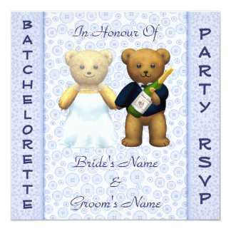 Batchelorette Party Blue Teddy Bears Stag Invite