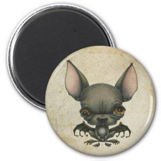 Batdog en el pergamino imán redondo 5 cm