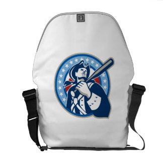 Bate de béisbol americano del patriota retro bolsa de mensajeria