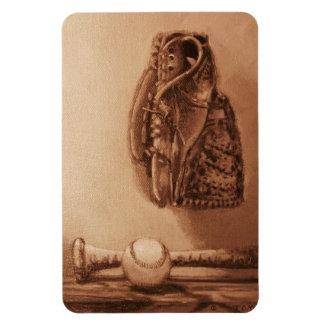 Bate de béisbol, bola y guante iman rectangular