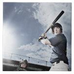 Bate de béisbol de balanceo del jugador de béisbol azulejo cuadrado grande