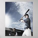 Bate de béisbol de balanceo del jugador de béisbol posters