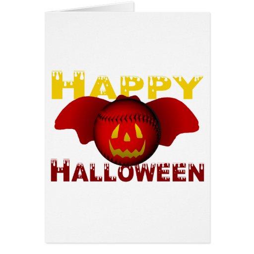 Bate de béisbol del rojo del feliz Halloween Tarjeta De Felicitación