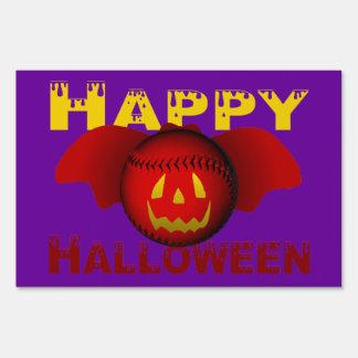 Bate de béisbol rojo del feliz Halloween Letrero