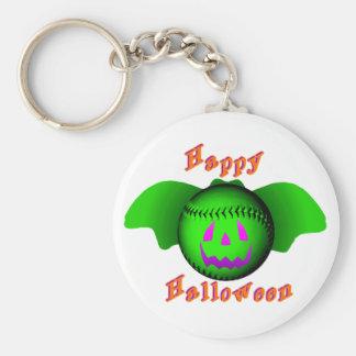 Bate de béisbol verde del feliz Halloween Llaveros