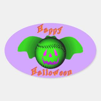 Bate de béisbol verde del feliz Halloween Pegatina Ovalada