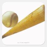Bate de béisbol y bola colcomanias cuadradases