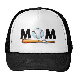 Bate de béisbol y bola de la mamá gorro de camionero