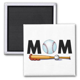 Bate de béisbol y bola de la mamá imán cuadrado