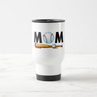 Bate de béisbol y bola de la mamá taza de café