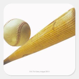Bate de béisbol y bola pegatina cuadrada