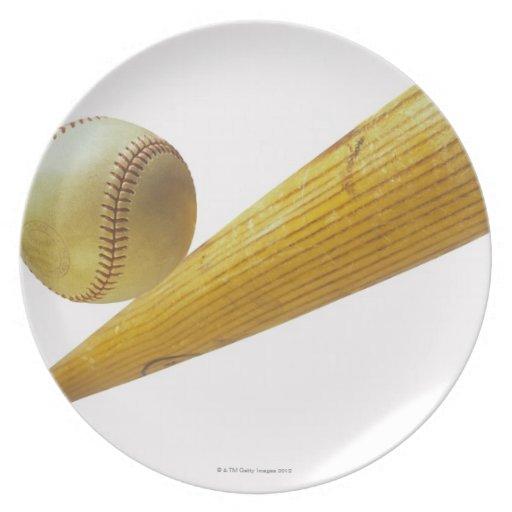 Bate de béisbol y bola plato de comida