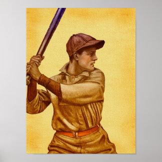 Bateador del béisbol en estilo antiguo del pergami impresiones