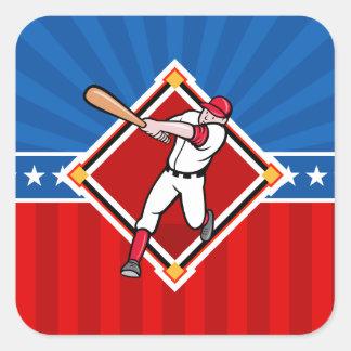 Bateador del béisbol pegatina cuadrada