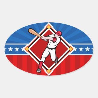 Bateador del béisbol pegatina ovalada