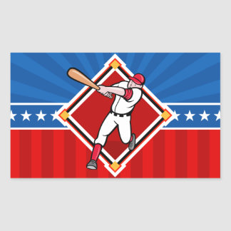 Bateador del béisbol pegatina rectangular