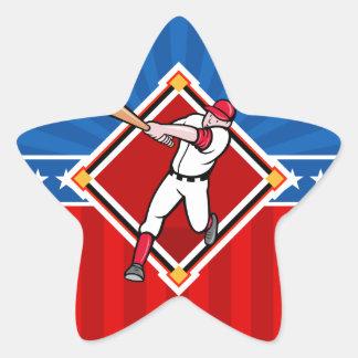 Bateador del béisbol pegatina en forma de estrella