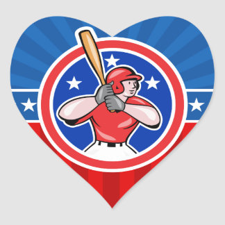 Bateador del béisbol pegatina en forma de corazón