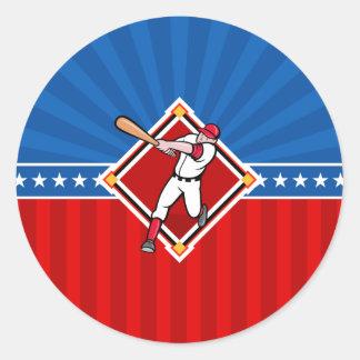 Bateador del béisbol pegatina redonda