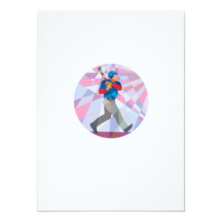 Bateador del talud del béisbol que golpea el invitación 13,9 x 19,0 cm