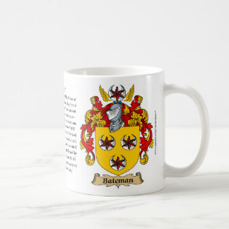 Bateman, the Origin, the Meaning and the Crest Classic White Coffee Mug
