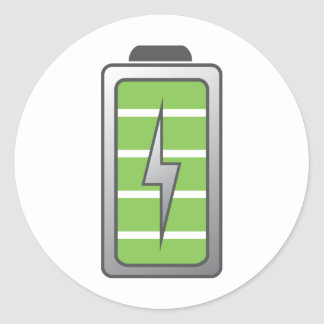 Batería completamente cargada pegatina redonda