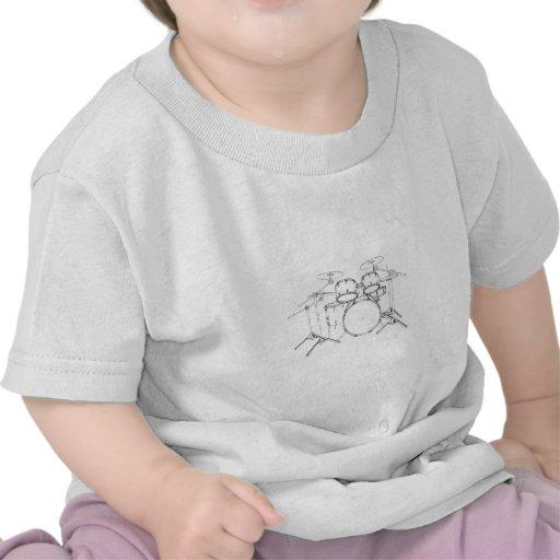 Batería de 5 pedazos: Dibujo negro y blanco: Camisetas